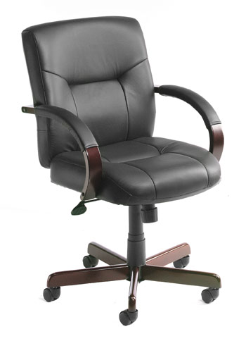 Boss B8907 Boss Executive Leather Mid Back Chair with Mahogany Finished Wood with Knee Tilt