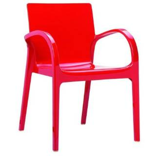Compamia ISP032-GRED Dejavu Polycarbonate Arm Chair Glossy Red - Pack of 4