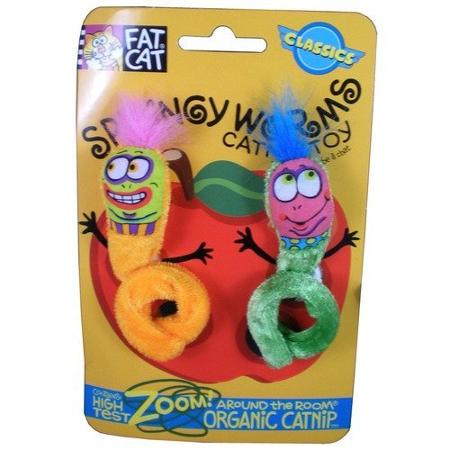 Doskocil 650037 2 Count Springy Worms Catnip Cat Toys Pack Of 3