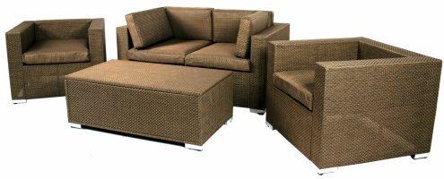 Sinochem Ningbo Ltd 760342BRNZ 4 Piece Bronze Synthetic Fabric Chat Sofa Set