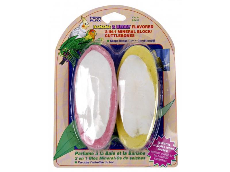 Penn-plax Inc BA652 Banana & Berry Flavored 2 In 1 Cuttlebone Bird 2 Count Suppl