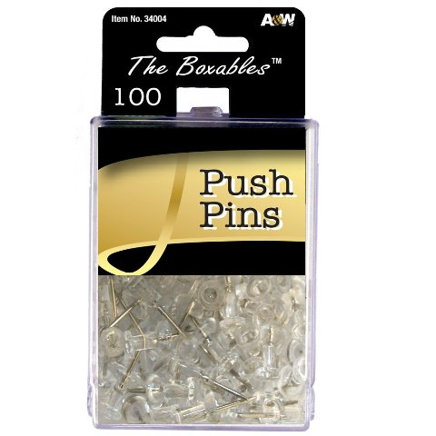 Image of A & W Products 34004 A & W Products 34004 Clear Push Pins 100 Count