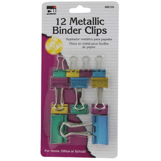 Charles Leonard Inc 80120 Charles Leonard Inc 80120 Metallic Binder Clips Assorted Colors 12 Count