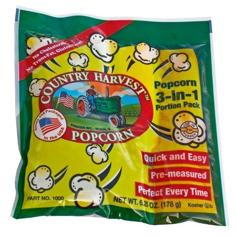 Paragon - Manufactured Fun 1000 Country Harvest 4 oz Tri-Pack Popcorn - 24 Pack Regular Case