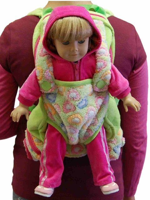 The Queens Treasures AGBCKG Childs Backpack with 18 in. Doll Carrier & Sleeping Bag, Green