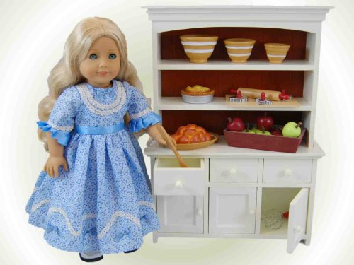 The Queens Treasures AGFH Farmhouse Collection Step-back Cupboard for American Girl Doll