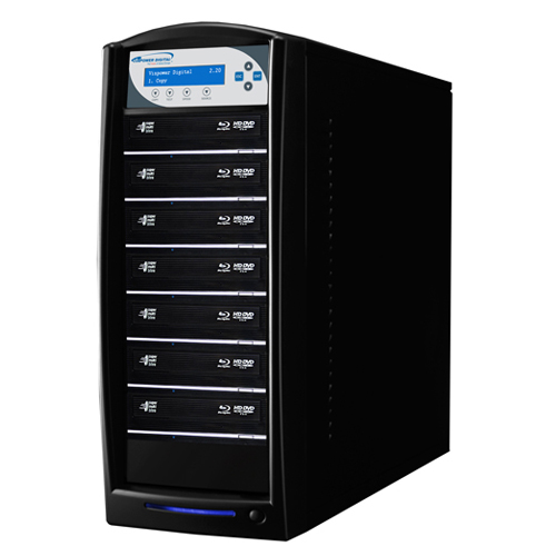 Vinpower Digital SharkBlu-S7T-BK SharkBlu HDD to 7 Target Blu-ray DVD CD Disc Duplicator Tower with 500GB Hard Drive VNPWR256