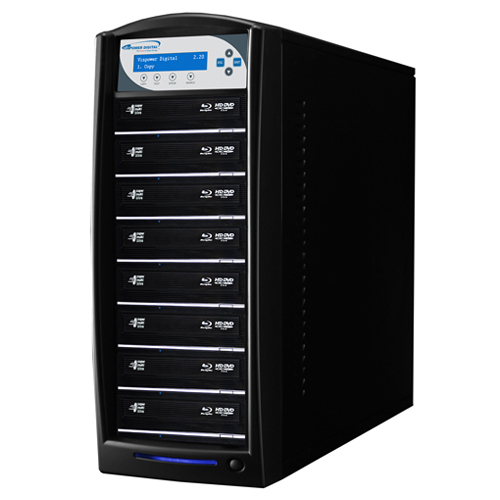 Vinpower Digital SharkBlu-S8T-XL-BK SharkBlu HDD to 8 Target BDXL Blu-ray DVD CD Disc Duplicator Tower with 500GB Hard Drive VNPWR274