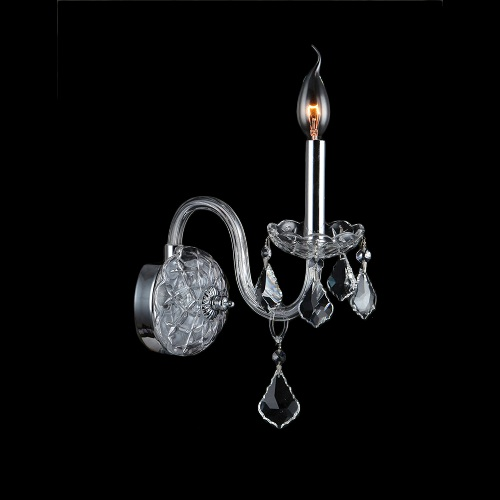 Worldwide Lighting Provence Collection 1-Light Chrome and Crystal Wall Sconce W23101C4-CL