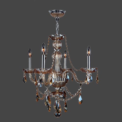 Worldwide Lighting W83095C23-AM Provence 4 Light Candle Style Crystal Chandelier