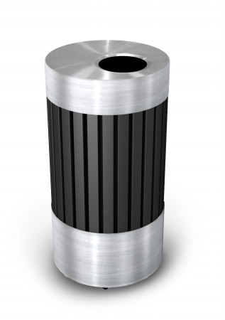 Commercial Zone 727543 Riverview 1  Stainless Steel and Black Powder-Coated Steel Waste Receptacle