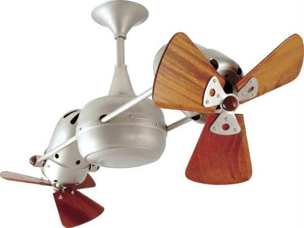 click for Full Info on this Matthews Fan Co DD BN WD Duplo Dinamico 36 in Handmade Rotational Ceiling Fan in Brushed Nickel   Mahogany Wood Blades