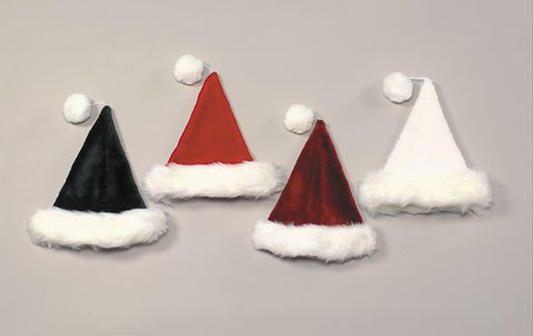 Halco 6075-B Burgundy Velvet Plush Santa Hat with White long-hair Band- One size fits most