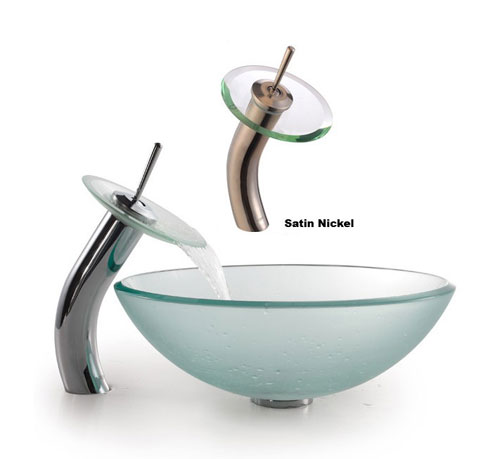 Kraus C-GV-101FR-12mm-10SN Clear 12mm Frosted Glass sink with Satin Nickel Waterfall Faucet