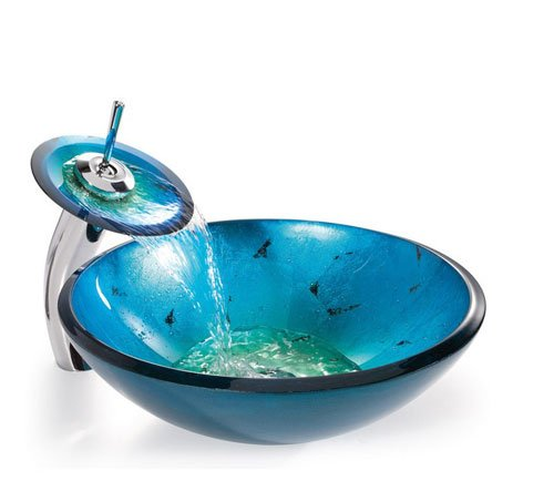 Kraus C-GV-204-12mm-10CH 12mm Galaxy Fire Blue glass vessel sink with Chrome waterfall Faucet