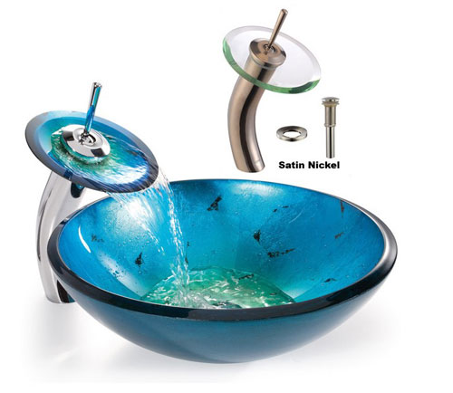 Kraus C-GV-204-12mm-10SN 12mm Galaxy Fire Blue glass vessel sink with Satin Nickel waterfall Faucet