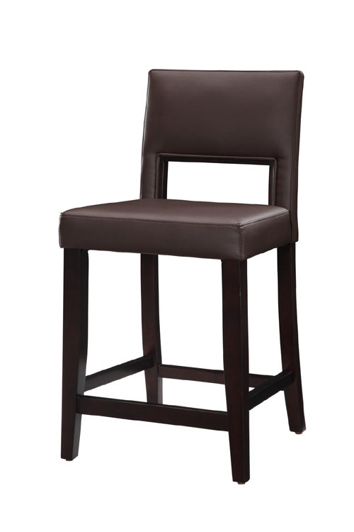 Linon 14053VESP-01-KD-U Vega Counter Stool 24inch -Espresso Frame Finish