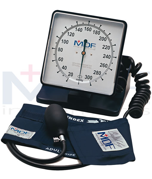 MDF Instruments MDF84011 Desk & Wall Aneroid Sphygmomanometer -Black -Adult