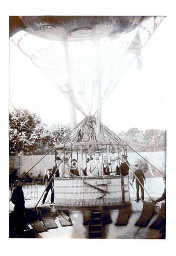 Balloon Expedition; Photographic representation of Men about to lift of in a basket turn of the century 20x30
