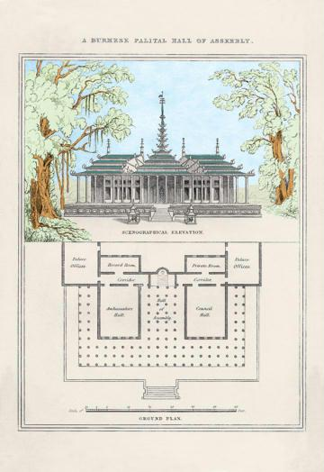 A Burmese Palatial Hall of Assembly 24x36 Giclee
