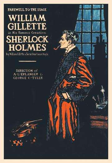 William Gillette as Sherlock Holmes: Farewell to the Stage 24x36 Giclee