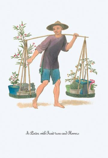 A Porter with Fruit Trees and Flowers 24x36 Giclee