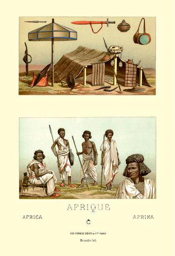 Members of Tribe and Typical Shelter 24x36 Giclee