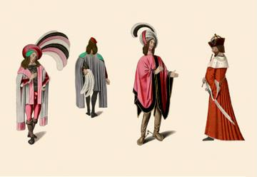 Flamboyant Medieval Costumes 24x36 Giclee
