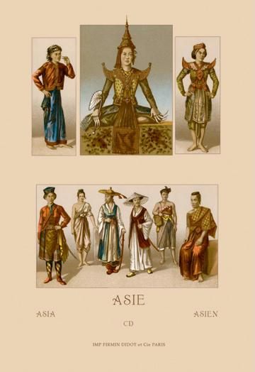 A Variety of Asian Costumes 24x36 Giclee