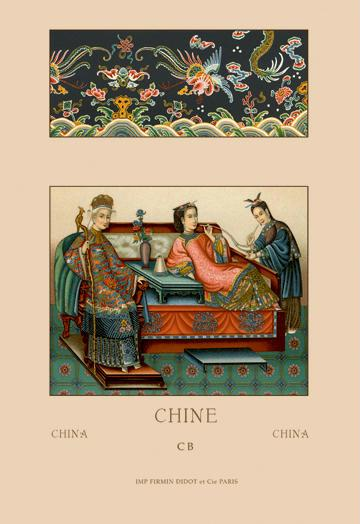 A Chinese Empress Imperial Wife and Servant 24x36 Giclee