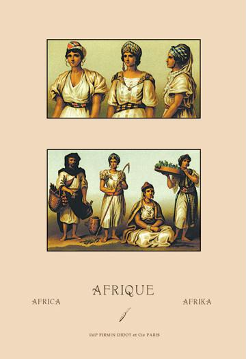 A Variety of African Costumes No.1 24x36 Giclee