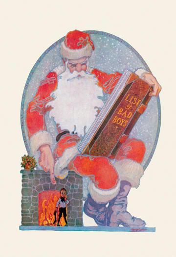 Santa Checks His Giant List of Bad Boys 28x42 Giclee On Canvas
