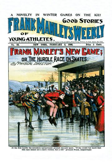 Frank Manley's New Game: or The Hurdle Race on Skates 28x42 Giclee On Canvas