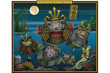 A School of Japanese Fugu Fish 28x42 Giclee On Canvas
