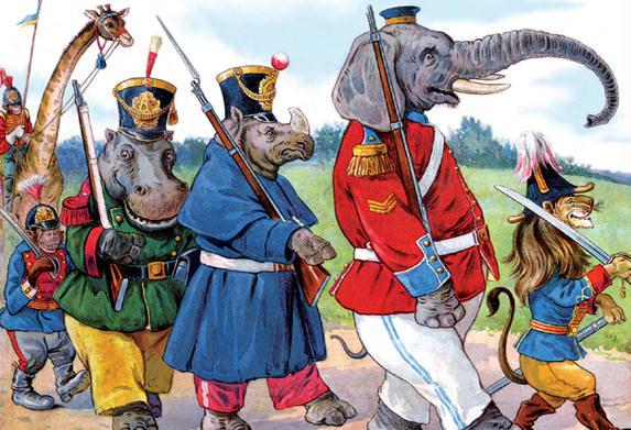 Animals March in Uniform 28x42 Giclee On Canvas