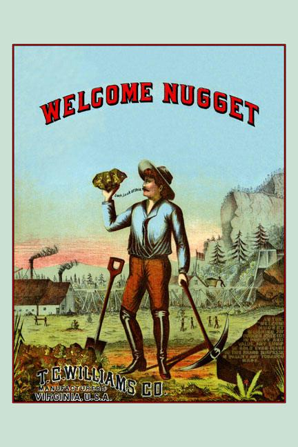 Welcome Nugget Tobacco Label 28x42 Giclee On Canvas