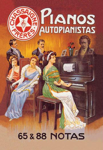 Pianos Autopianistas with Beethoven 12x18 Giclee On Canvas