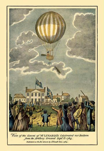 Ascent of Lunardi's Balloon - Graphic representaion of a Balloon's ascension 12x18 Giclee On Canvas