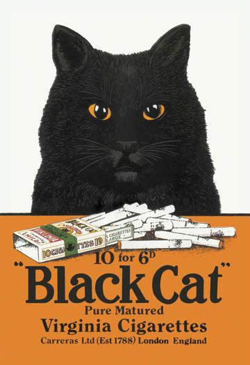 Black Cat Pure Matured Virginia Cigarettes 12x18 Giclee On Canvas