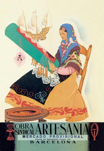 Barcelon Obra Sindical Artesania 12x18 Giclee On Canvas