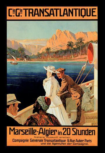 Marseille-Algiers Cruise Line 12x18 Giclee On Canvas