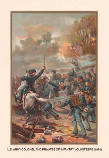 Colonels and Privates of Infantry Volunteers 1864 12x18 Giclee On Canvas