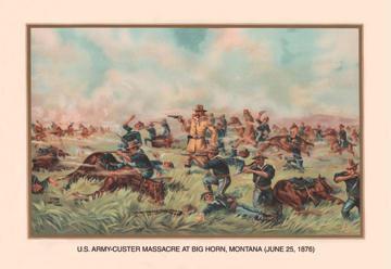 Custer Massacre at Big Horn Montan June 25 1876 12x18 Giclee On Canvas