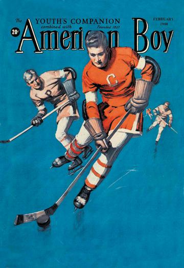 American Boy Hockey Cover 12x18 Giclee On Canvas