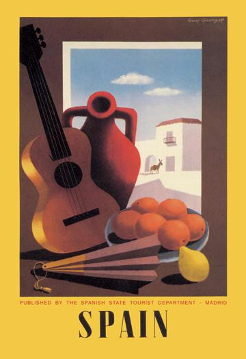 Spain: Guitar and Oranges 12x18 Giclee On Canvas
