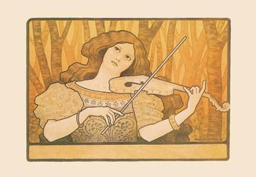 Woman Plays the Violin 12x18 Giclee On Canvas