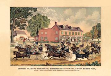 Trotting Horse Race in Philadelphia 12x18 Giclee On Canvas