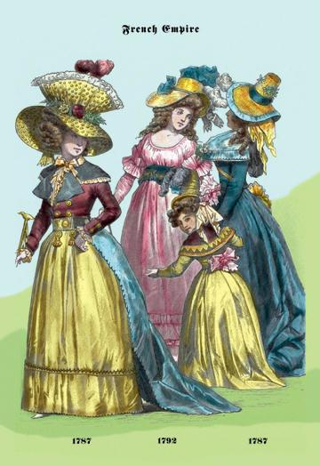 French Empire Dresses 18th Century 12x18 Giclee On Canvas