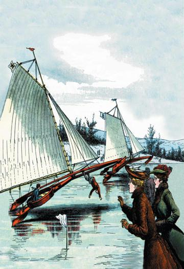 Ice Sailing Mishap 12x18 Giclee On Canvas