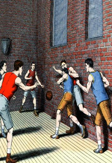 Getting Physical on the Basketball Court 12x18 Giclee On Canvas DDDSD514236